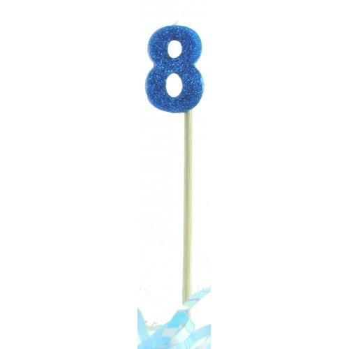 Blue Glitter Long Stick Candle #8