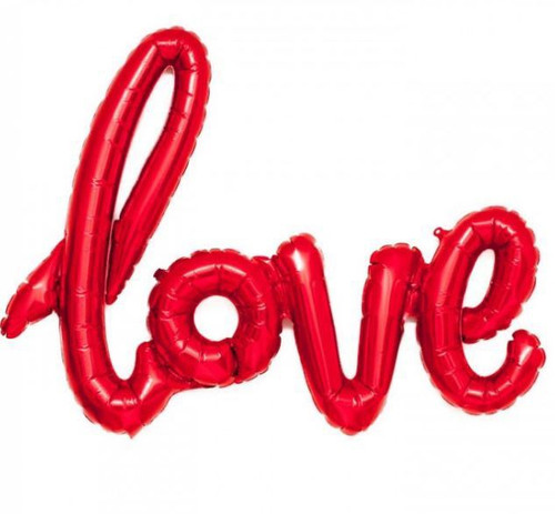 """Love"" Script Balloon - Red"