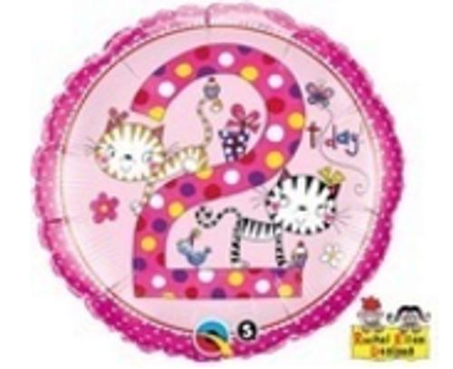 Age 2 Kittens Polka Dots Foil Balloon
