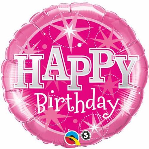Birthday Pink Sparklers Foil Balloon
