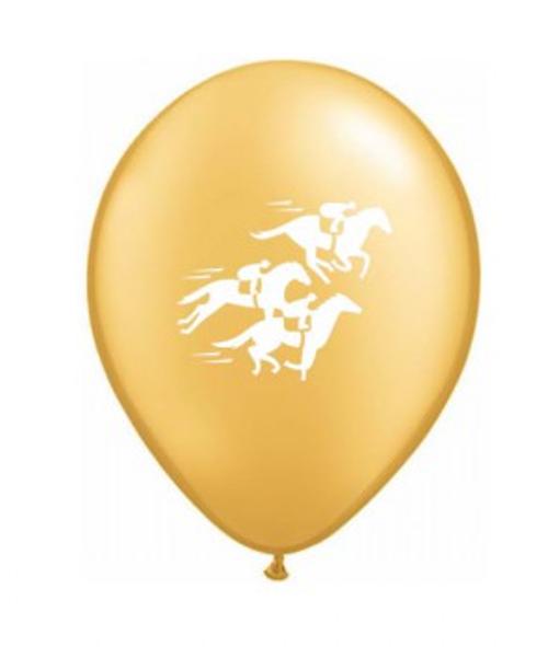 Race Horses Around Metallic Gold Latex Balloon