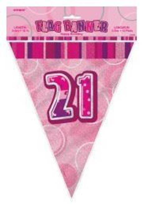 Flag Banner - Pink Glitz - 21st