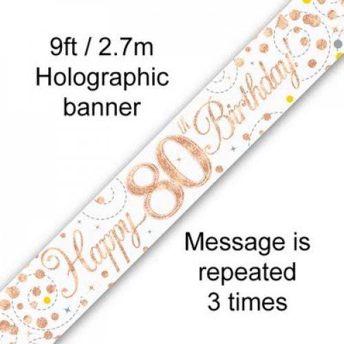 Sparkling Fizz Rose Gold 80th Birthday Banner