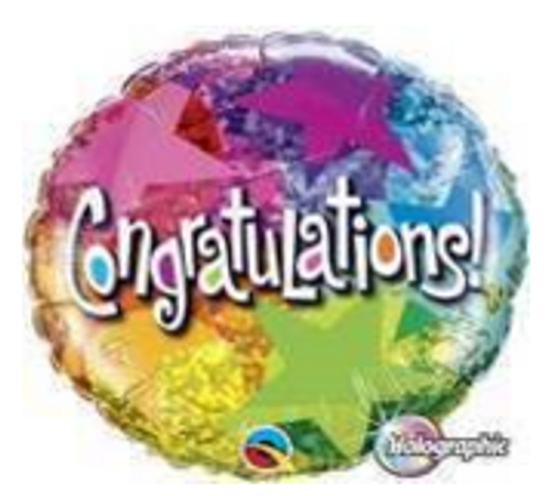 Congratulations Star Patterns Holographic Foil Balloon