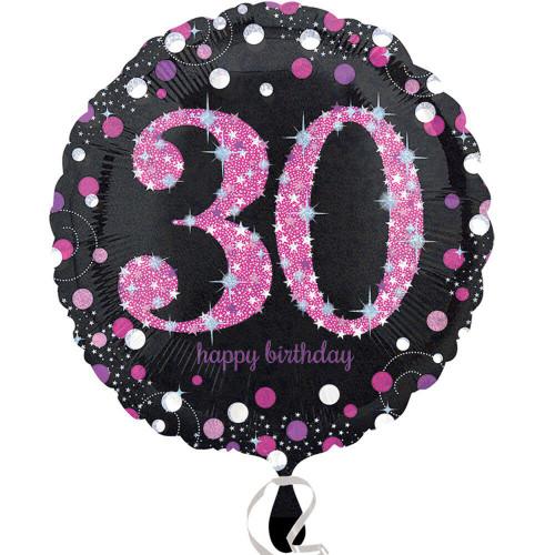 Pink Celebration 30 Holographic Foil Balloon