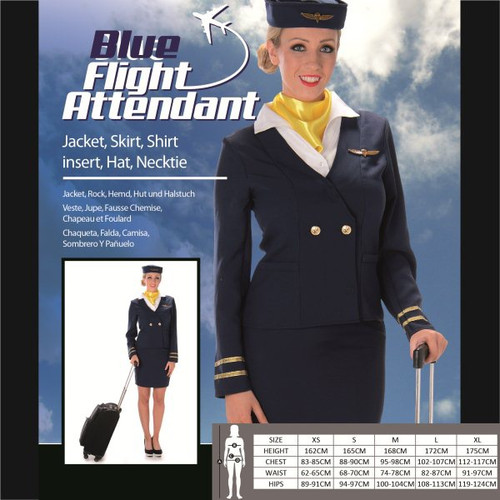 Blue Flight Attendant Costume - L