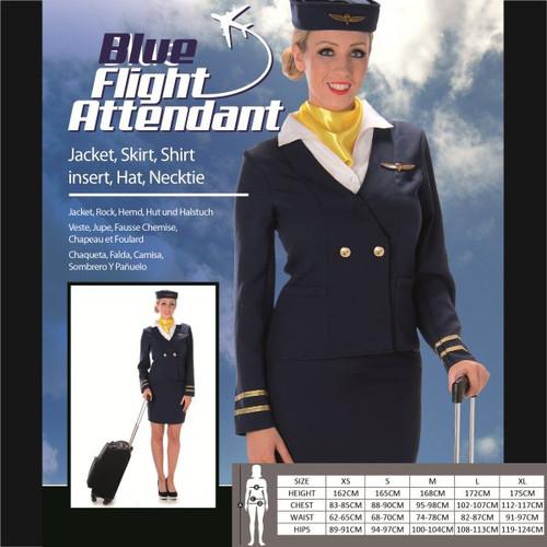 Blue Flight Attendant Costume - S