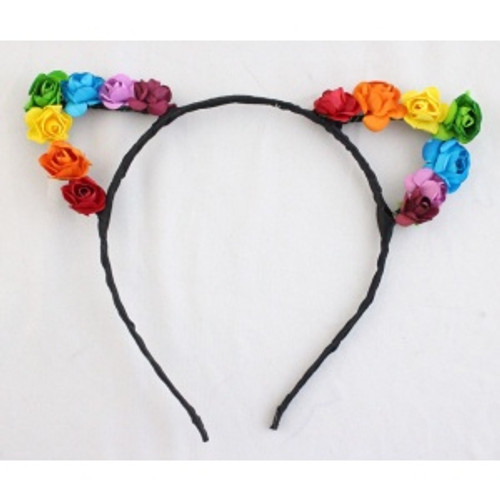 Cat Ears with Rainbow Roses