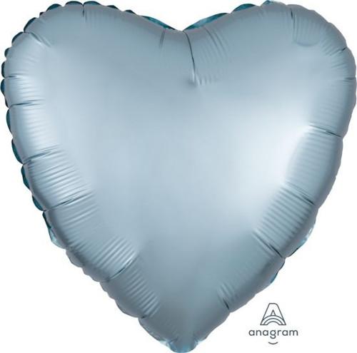 Heart Satin Luxe Pastel Blue Foil Balloon