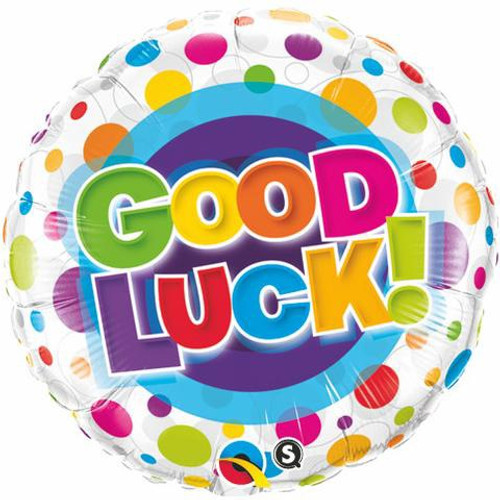 Good Luck Colourful Dots Foil Balloon