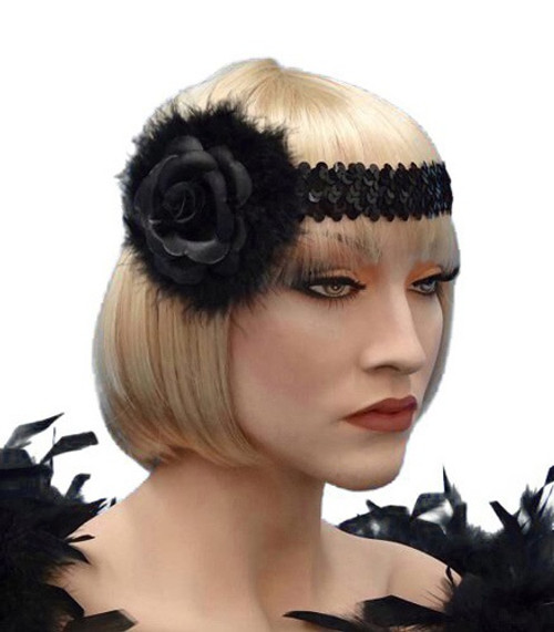Headband - Black Rose with Feathers