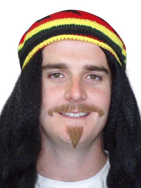 Brown Reggae Moustache Set