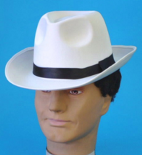 Gangster Hat White with Black Band