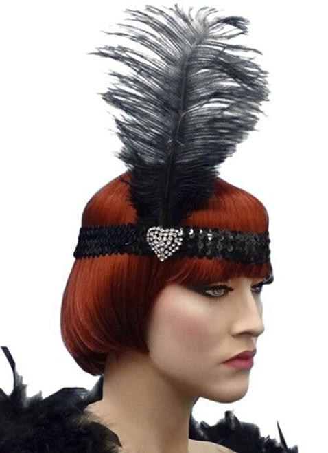 Crystal Heart Flapper Headband