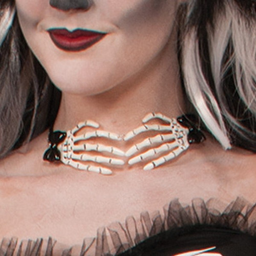 Choker Necklace with Skeleton Hands