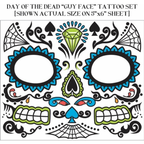 Day of the Dead Face Tattoo - Male