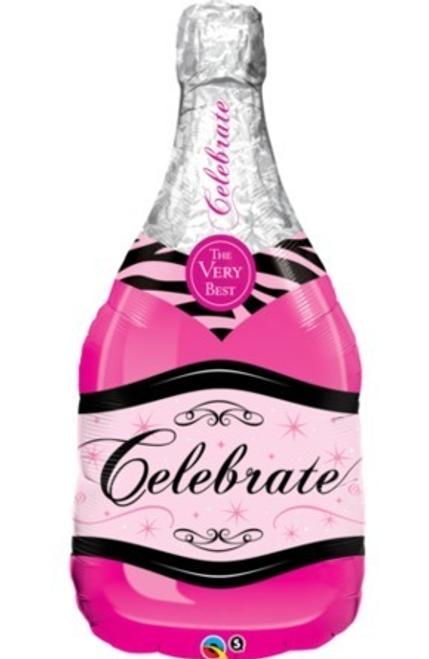 Bottle Celebrate Pink Bubbly Wine Foil Shape Balloon