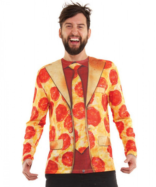 Faux Real Pizza Suit Shirt - L