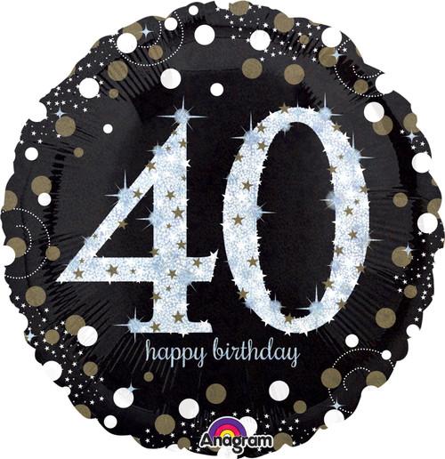 Sparkling Birthday 40 Jumbo Holographic Foil Balloon