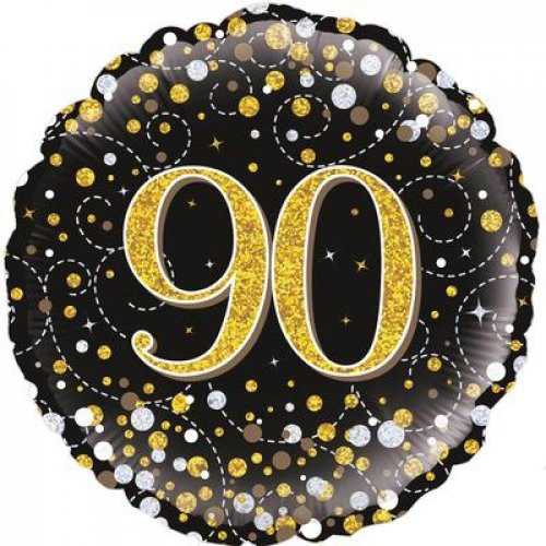 Sparkling Fizz Black & Gold 90  Foil Balloon