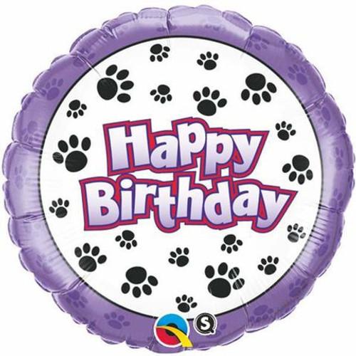 Birthday Paw Prints Foil Balloon