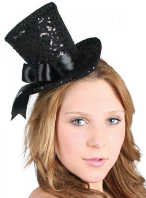 Black Sequin Mini Top Hat