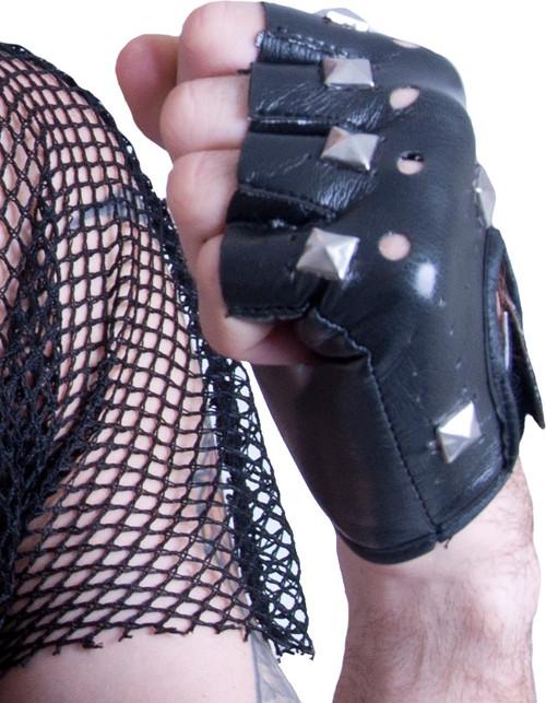 Studded Fingerless Punk Gloves