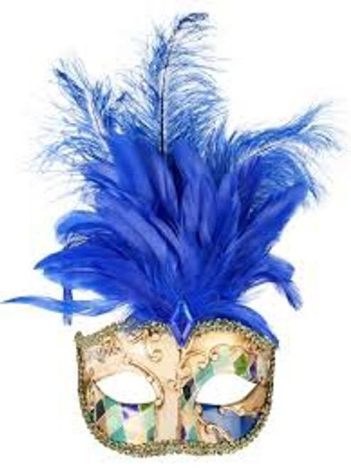 Eyemask Allegra Gold & Blue with Feathers