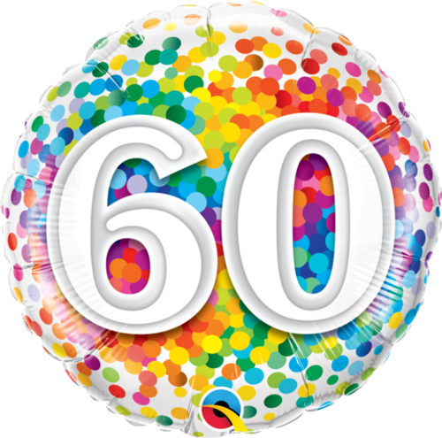 60 Rainbow Confetti Foil Balloon