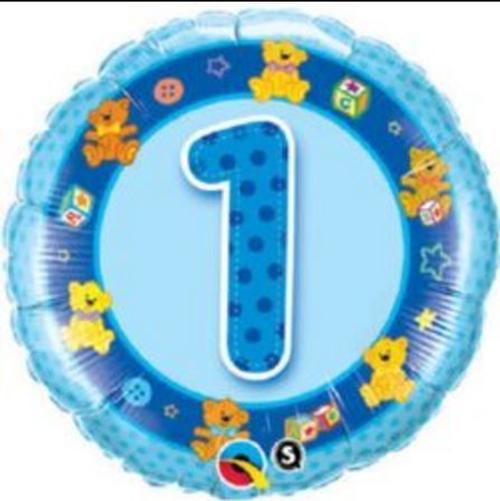 Age 1 Blue Teddies Foil Balloon