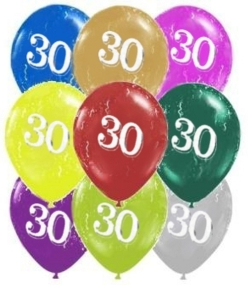 30 Around Pearl Latex 11inch Printed Balloon