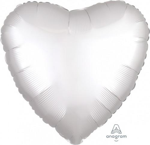 Heart Satin Luxe White Satin Foil Balloon