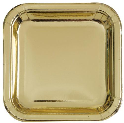 """Gold Foil 8 x 23cm (9"""") Square Paper Plates"""
