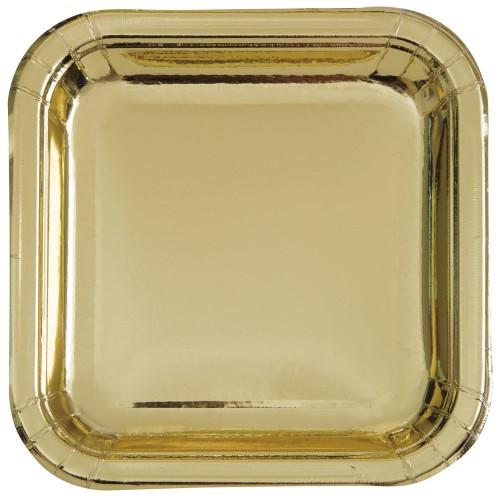 """Gold Foil 8 x 18cm (7"""") Square Paper Plates"""