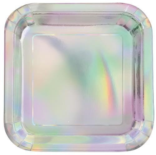 "Iridescent Foil 8 x 23cm (9"") Square Paper Plates"