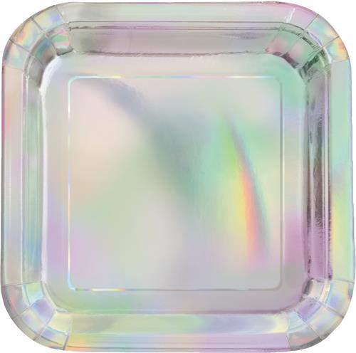 "Iridescent Foil 8 x 18cm (7"") Square Paper Plates"