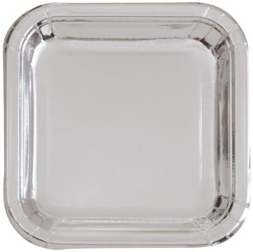 """Silver Foil 8 x 23cm (9"""") Square Paper Plates"""