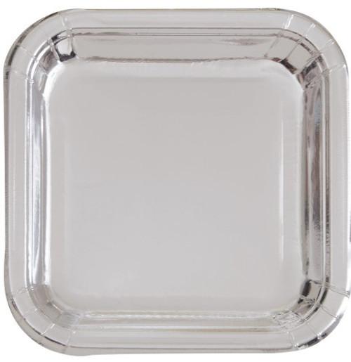 """Silver Foil 8 x 18cm (7"""") Square Paper Plates"""