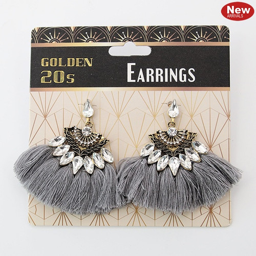 1920's Rhinestone Encrusted Earrings - Silver