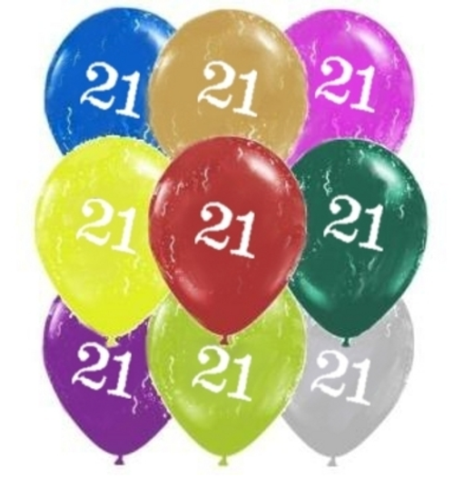 21 Around Pearl Latex 11inch Printed Balloon