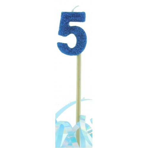 Blue Glitter Long Stick Candle #5