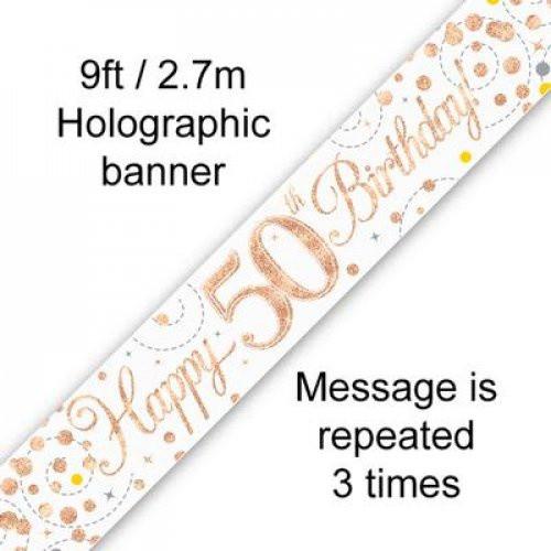 Sparkling Fizz Rose Gold 50th Birthday Banner