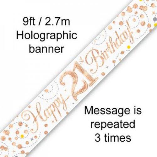 Sparkling Fizz Rose Gold 21st Birthday Banner