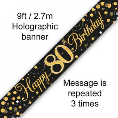 Sparkling Fizz Black and Gold 80th Birthday Banner