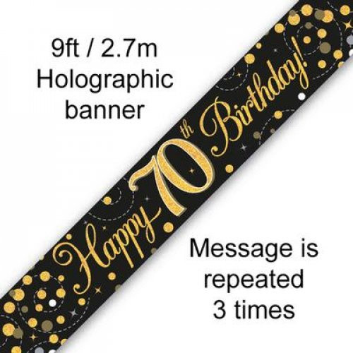 Sparkling Fizz Black and Gold 70th Birthday Banner