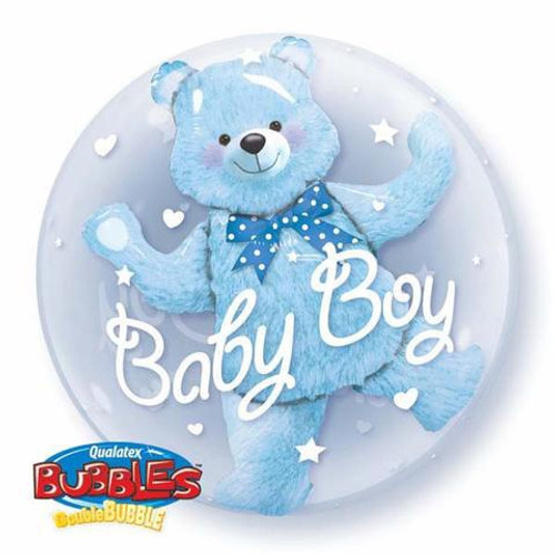 Baby Blue Bear Double Bubble Balloon
