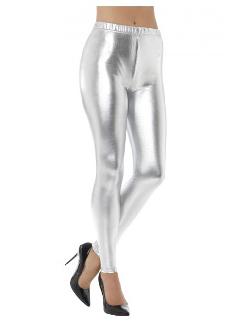 80's Metallic Disco Leggings Silver - S