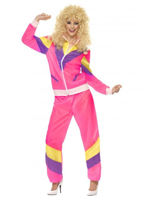 80's Pink Shell Suit Costume - S