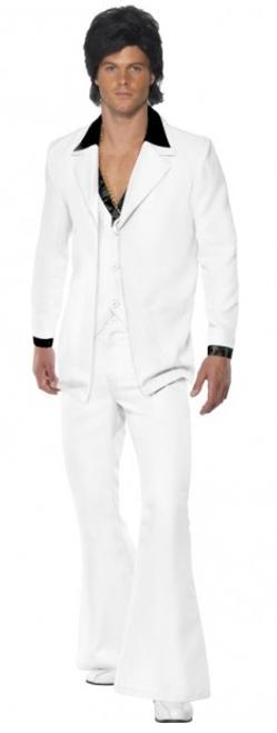 1970's White Travolta Suit - XL