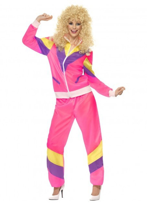 80's Pink Shell Suit Costume - L